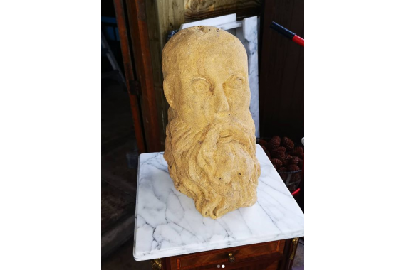 19th Century Sand Stone Bust of Ming